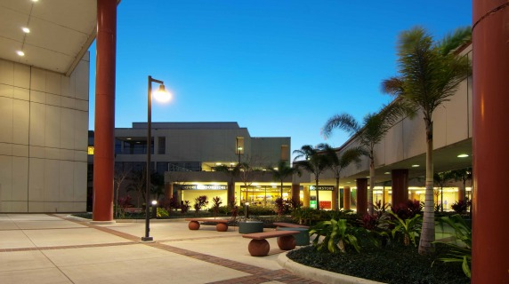 evening shot of the Dale Mabry's campus courtyard