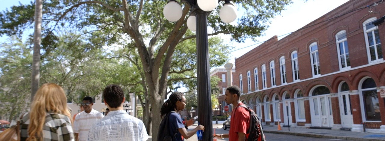 candid shots of students on the Ybor City campus