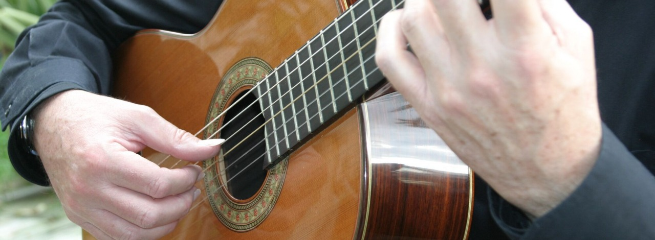 Close up photograph of Professor Mark Switzer playing guitar